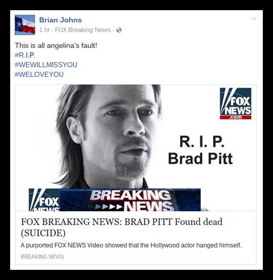 Brad Pitt FB scam