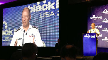 Gen. Keith Alexander presenting at Black Hat 2013 in Las Vegas, Nevada.