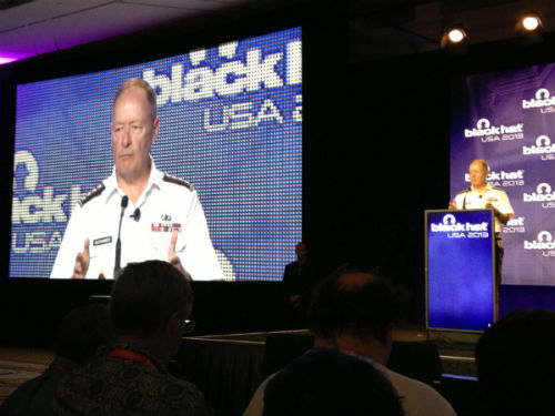 Gen. Alexander presents in front of a packed audience hall at Black Hat 2013 in Las Vegas.
