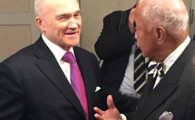 Former NYPD Commisioner Ray Kelly (left) and former NY City Mayor David Dinkins