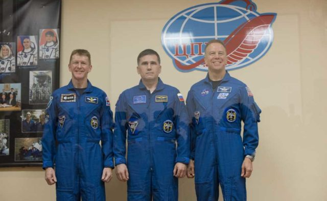 Tim Peake of the European Space Agency, Yuri Malenchenko of the Russian Federal Space Agency (Roscos